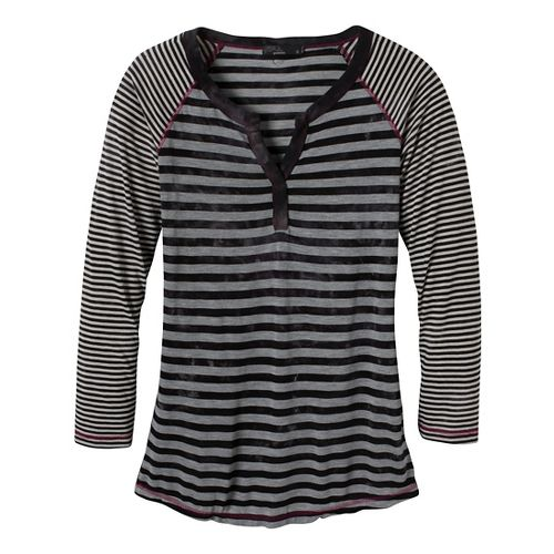 Womens Prana Zoe Henley Long Sleeve Non-Technical Tops - Black XS