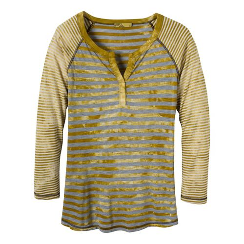 Womens Prana Zoe Henley Long Sleeve Non-Technical Tops - Gold Leaf L