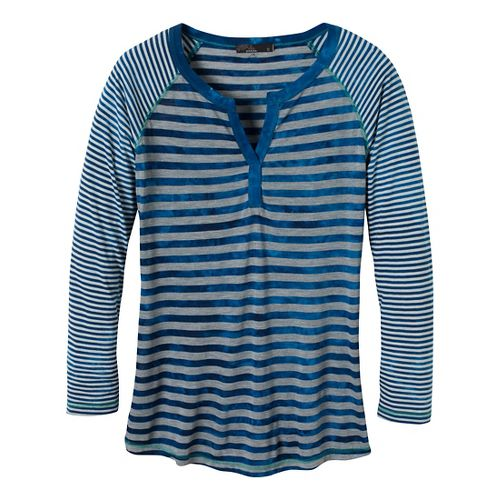Womens Prana Zoe Henley Long Sleeve Non-Technical Tops - Pure Blue L