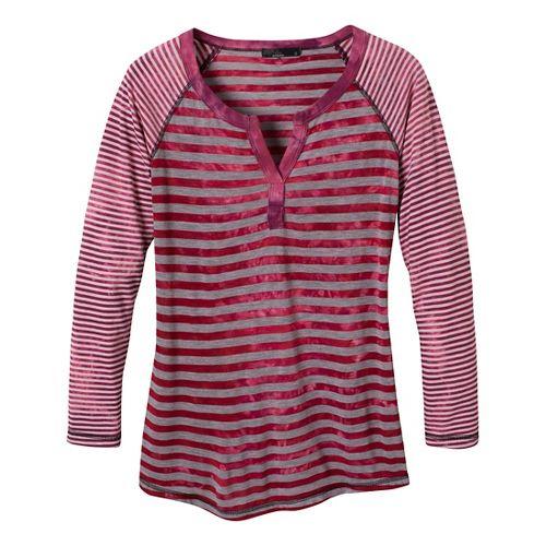 Womens Prana Zoe Henley Long Sleeve Non-Technical Tops - Scarlet XL