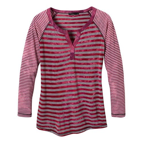 Womens Prana Zoe Henley Long Sleeve Non-Technical Tops - Scarlet XS