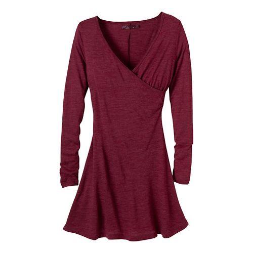 Womens Prana Nadia LS Dress Fitness Skirts - Plum Red L