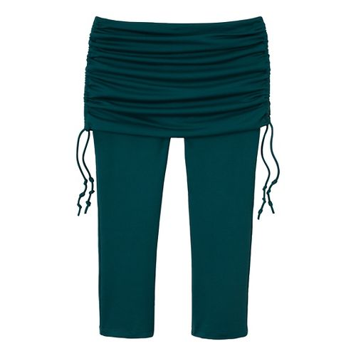 Womens Prana Cassidy Fitness Capris - Deep Teal XL