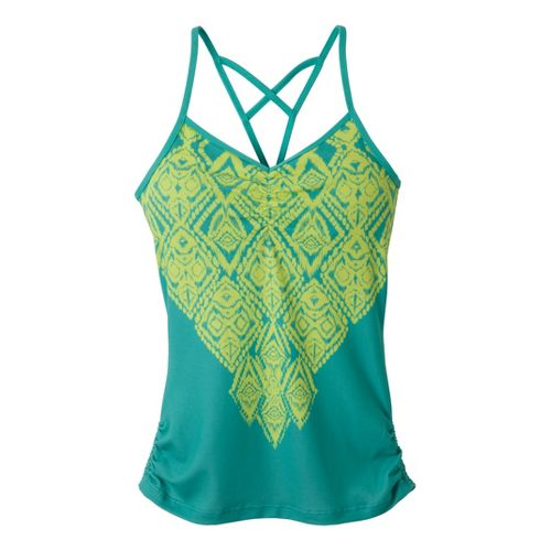Womens Prana Leyla Tanks Technical Tops - Limeade Indie L