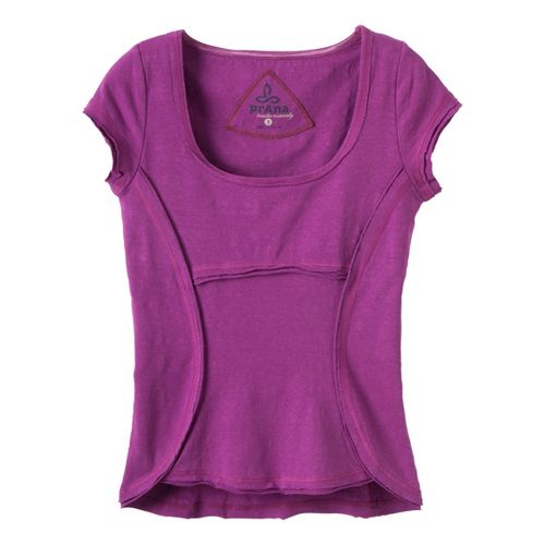 Womens Prana Katarina Short Sleeve Technical Tops - Berry XL