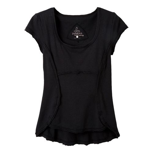 Womens Prana Katarina Short Sleeve Technical Tops - Black XS