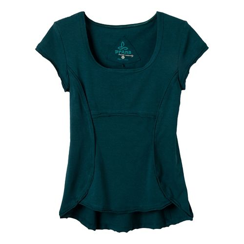 Womens Prana Katarina Short Sleeve Technical Tops - Deep Teal XS