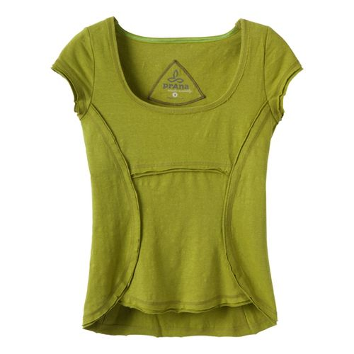 Womens Prana Katarina Short Sleeve Technical Tops - Grass L