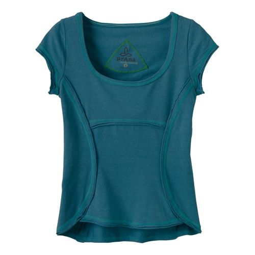 Womens Prana Katarina Short Sleeve Technical Tops - Ink Blue XS