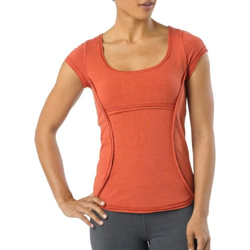 Womens Prana Katarina Short Sleeve Technical Tops - Indian Red L