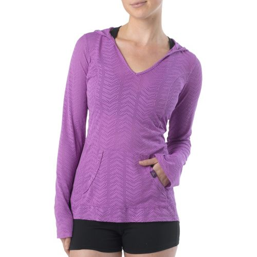Womens Prana Angie Hoodie Long Sleeve No Zip Technical Tops - Dewberry M
