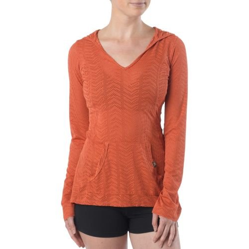 Womens Prana Angie Hoodie Long Sleeve No Zip Technical Tops - Indian Red XL