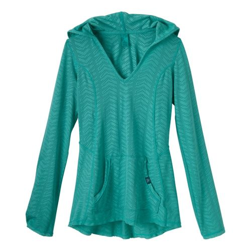 Womens Prana Angie Hoodie Long Sleeve No Zip Technical Tops - Turq M