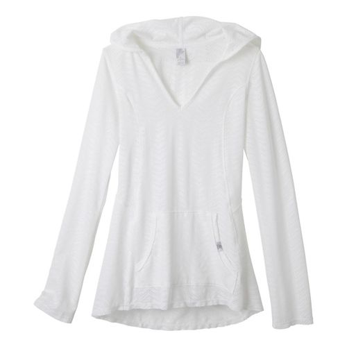 Womens Prana Angie Hoodie Long Sleeve No Zip Technical Tops - White XS