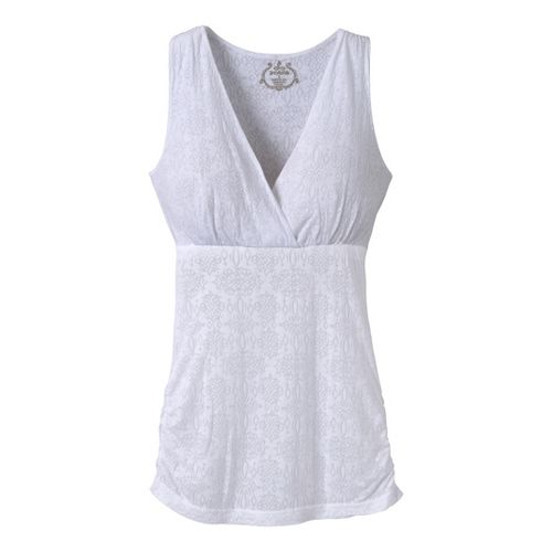 Womens Prana Mikayla Tanks Technical Tops - White Scroll XL