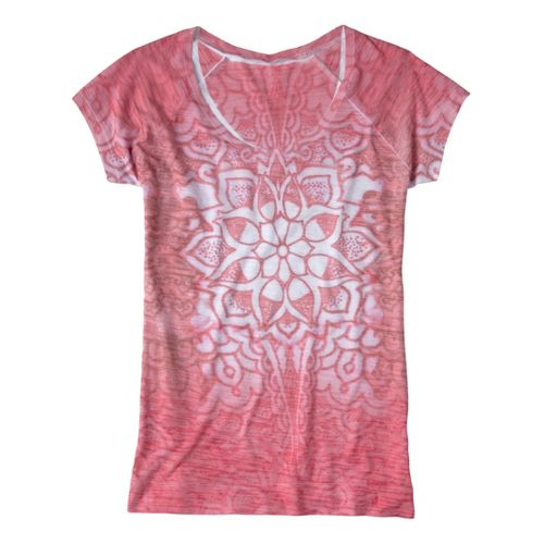 Womens Prana Goddess Tee Short Sleeve Technical Tops - Coral L
