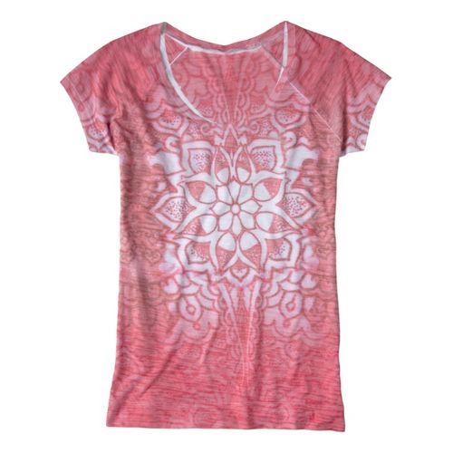 Womens Prana Goddess Tee Short Sleeve Technical Tops - Coral XL