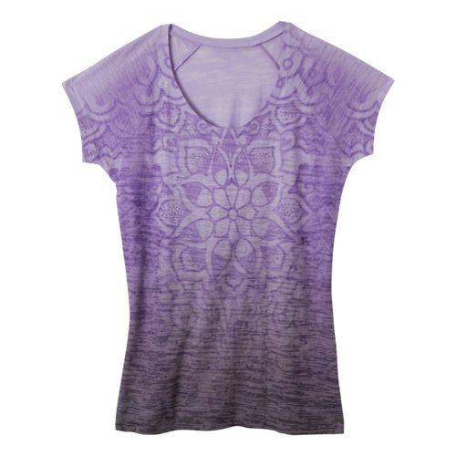 Womens Prana Goddess Tee Short Sleeve Technical Tops - Dahlia L