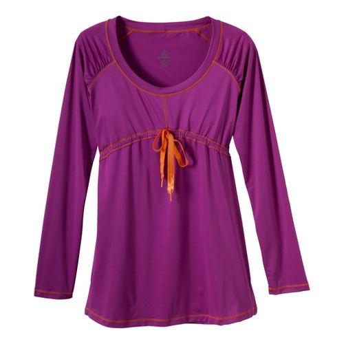 Womens Prana Felicity Long Sleeve No Zip Technical Tops - Berry M