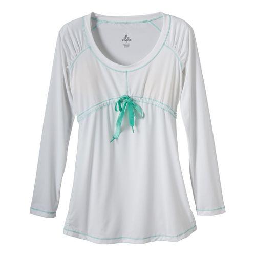 Womens Prana Felicity Long Sleeve No Zip Technical Tops - White XS