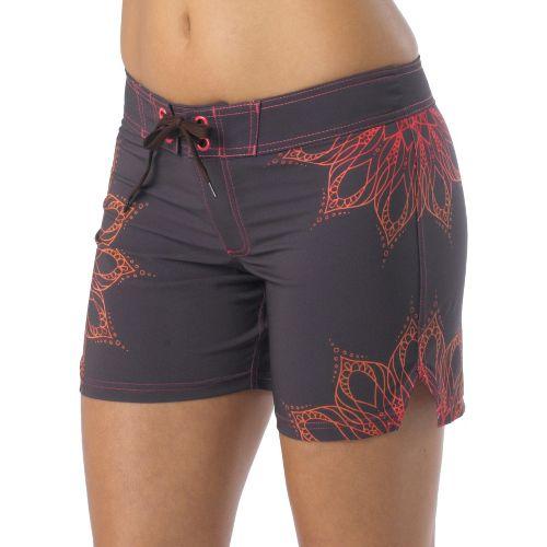 Womens Prana Makenna Board Unlined Shorts - Espresso/Coral XL