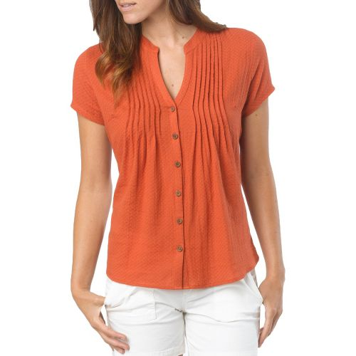 Womens Prana Ellie Short Sleeve Non-Technical Tops - Indian Red L