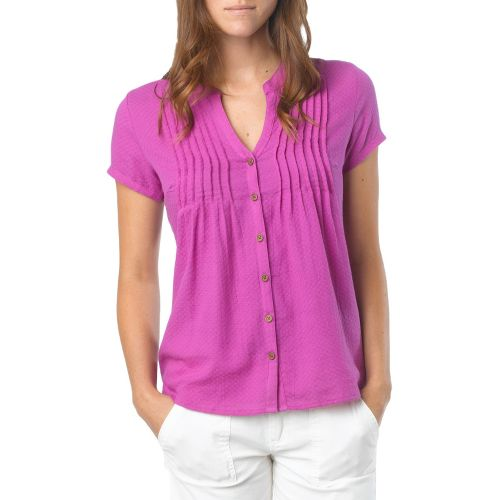 Womens Prana Ellie Short Sleeve Non-Technical Tops - Summer Plum XS