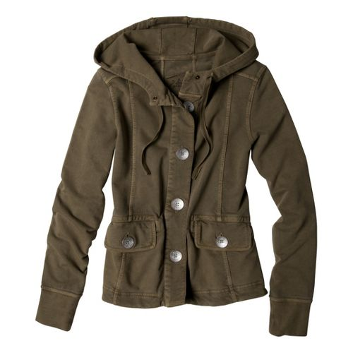 Womens Prana Janelle Warm-Up Unhooded Jackets - Moss L