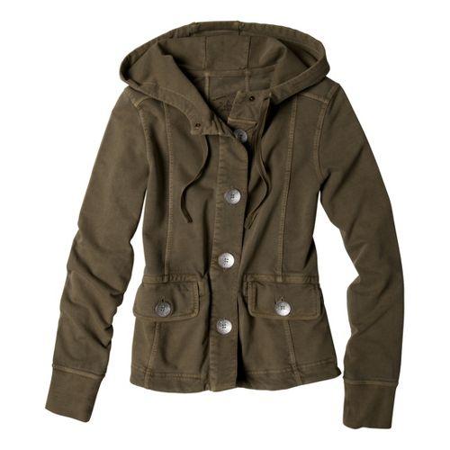 Womens Prana Janelle Warm-Up Unhooded Jackets - Moss XS