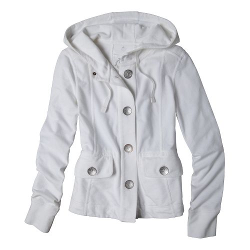 Womens Prana Janelle Warm-Up Unhooded Jackets - White XL