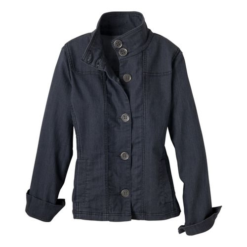 Womens Prana Kara Denim Warm-Up Unhooded Jackets - Denim L