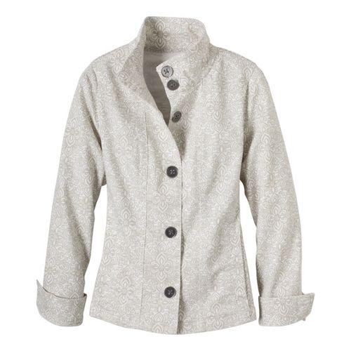 Womens Prana Kara Denim Warm-Up Unhooded Jackets - Stone M