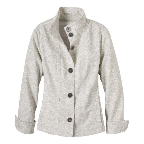 Womens Prana Kara Denim Warm-Up Unhooded Jackets - Stone S