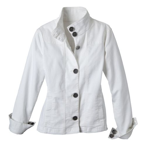 Womens Prana Kara Denim Warm-Up Unhooded Jackets - White M