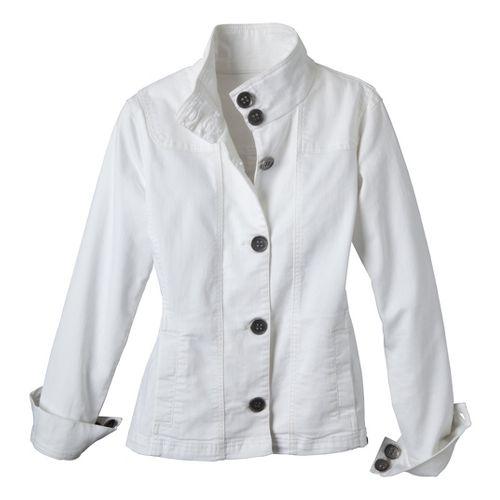 Womens Prana Kara Denim Warm-Up Unhooded Jackets - White XL