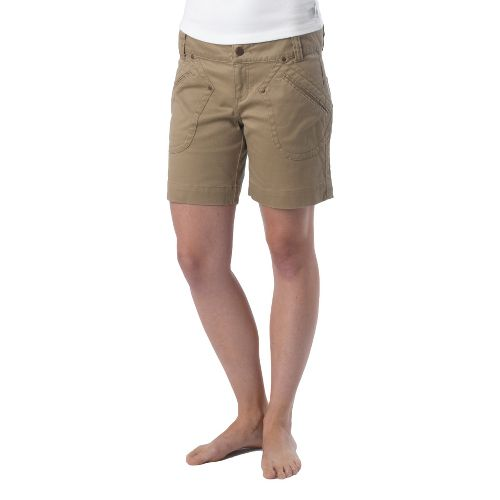 Womens Prana Randie Unlined Shorts - Dark Khaki 2