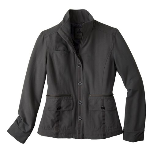 Womens Prana Lydia Warm-Up Unhooded Jackets - Gravel L