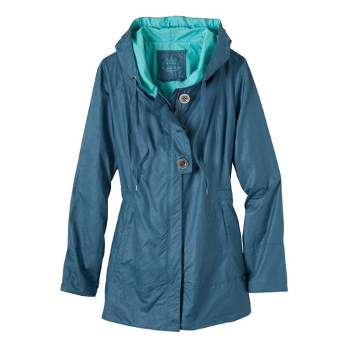 Womens Prana Abby Warm-Up Unhooded Jackets - Blue Jean M