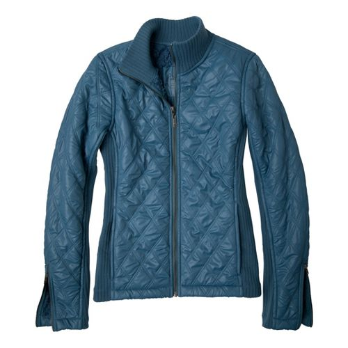 Womens Prana Diva Warm-Up Unhooded Jackets - Aegean Blue L