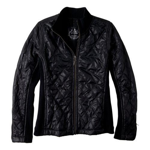 Womens Prana Diva Warm-Up Unhooded Jackets - Black XS