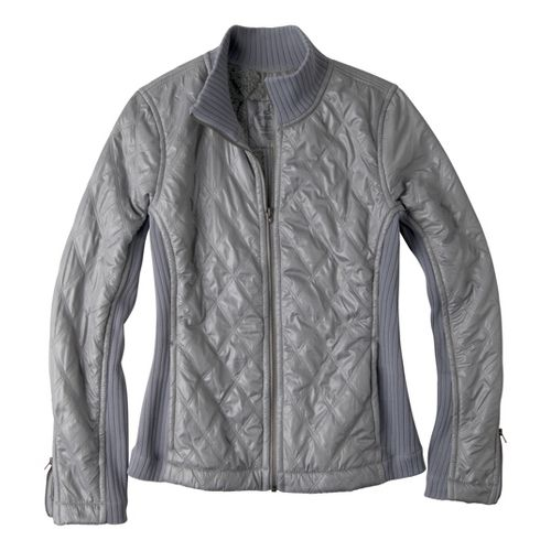 Womens Prana Diva Warm-Up Unhooded Jackets - Platinum S