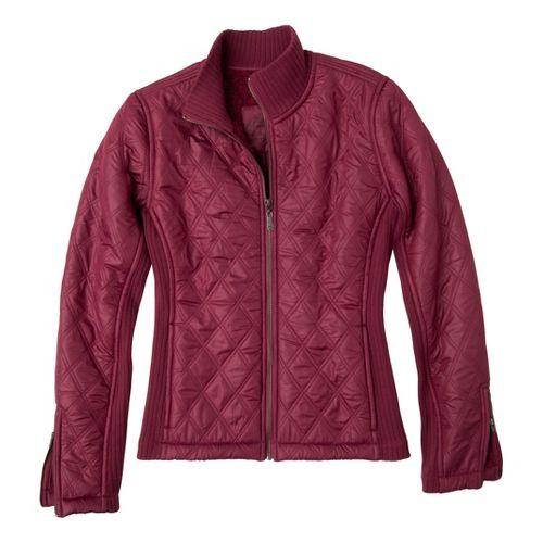 Womens Prana Diva Warm-Up Unhooded Jackets - Plum Red L