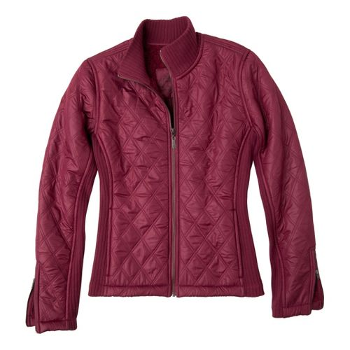 Womens Prana Diva Warm-Up Unhooded Jackets - Plum Red XL