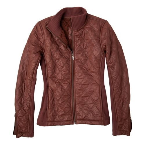 Womens Prana Diva Warm-Up Unhooded Jackets - Terracotta S