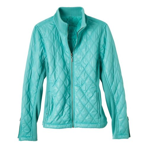 Womens Prana Diva Warm-Up Unhooded Jackets - Turq L