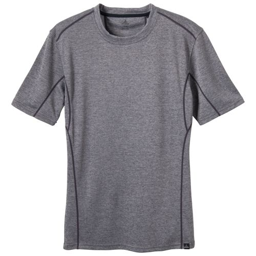 Mens Prana Talon Crew Short Sleeve Technical Tops - Charcoal XL