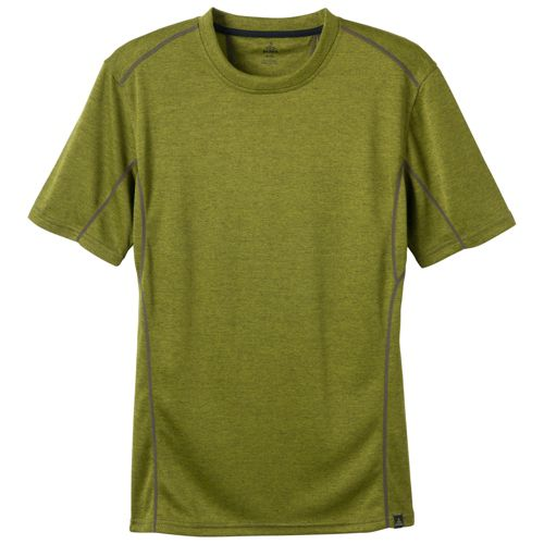 Mens Prana Talon Crew Short Sleeve Technical Tops - Grass M