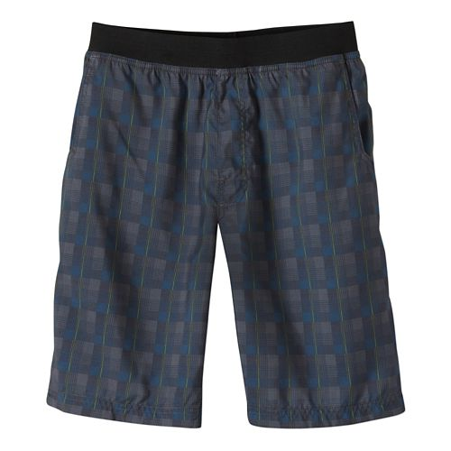 Mens Prana Mojo Unlined Shorts - Grey Blue Plaid L