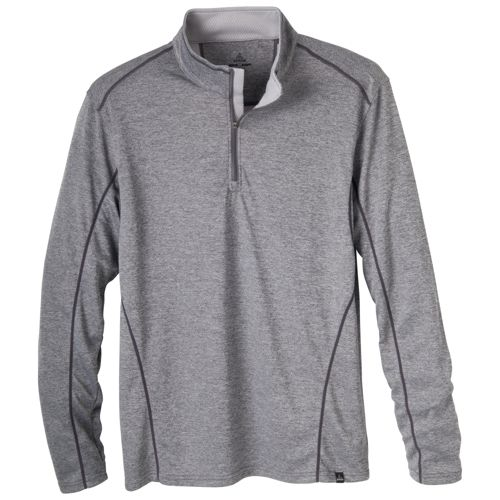 Mens Prana Talon Mock Neck Long Sleeve 1/2 Zip Technical Tops - Charcoal XXL