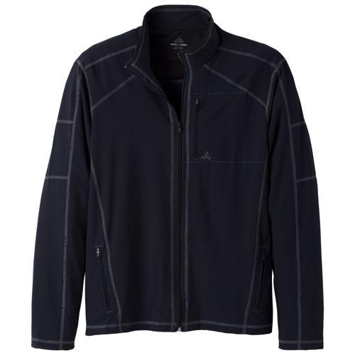Mens Prana Flex Warm-Up Unhooded Jackets - Black L